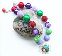 2PCS/ lot New fashion kid Ariel Merimaid princess charm pendant necklace girl chunky bead necklace free shipment!!
