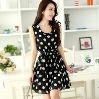 Hot Sale 2014 Fashion new Chiffon Dress Korean wave sleeveless vest slim lace  dot dress  Free shipping cloth012