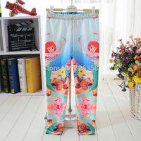 Retail kids The little mermaid Leggings/kids princess leggings Printing Leggings/Children Mermaid  trousers,4-11Y,3 styles