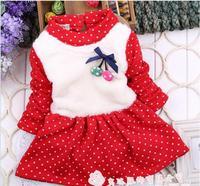 Autumn winter baby girl dress red cotton long sleeve thick cherry dot dress kids girls princess dress children dresses 4pcs/lot