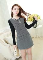 2014 Women's Fashion Long-sleeve O-neck Plaid Dress Autumn And Winter Elegant Plus Size Slim Knitting Dress Female Casual Dress