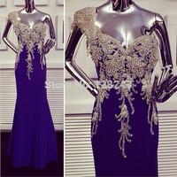 New Arrival 2014 Tarik Ediz Dress One Shoulder Navy Blue Full Silver Beaded Crystals Embellished Applique Long Evening Dress