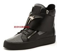Men women flats giuseppe zanotty gz designer Rhinestone zip brand high-cut casual shoes sneakers genuine leather black 36-46