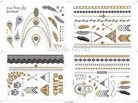 Free Shipping 200pcs/lot(4pcs/set)DAKOTA flash tattoos metallic tattoos 2014 promotional body golden tattoo sticker