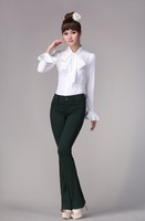 Good quality 2014 New autumn chiffon bow Shirt Women Casual Long Sleeve Tops Slim lacing sleeve Blouses clothing plus size