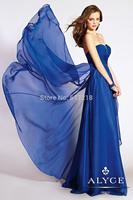 Free Shipping Fashion A-Line Strapless Sweetheart Long Chiffon Graduation Dress Blue/Party Dress