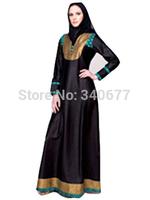 Autumn V-neck Fashion Islamic Dress,Arabic Black Jilbab,Muslim Clothing For Women,Abaya In Dubai With Scarf Gift Free Shipping