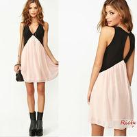 2014 summer sexy deep v open back women evening dress charming sleeveless patchwork slim club dress fancy mini casual dress