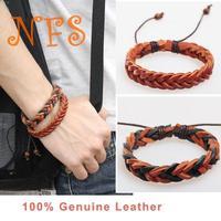 Free Shipping  2014 Fashion Leather Bracelet Handmade Cow Leather Weave Mix Colour Adjustable Size Bracelets Men Women