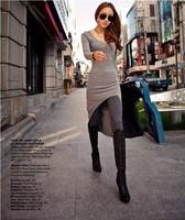 Dovetail fashion sexy dress  OL commuter irregular slim one piece dress free shipping6071