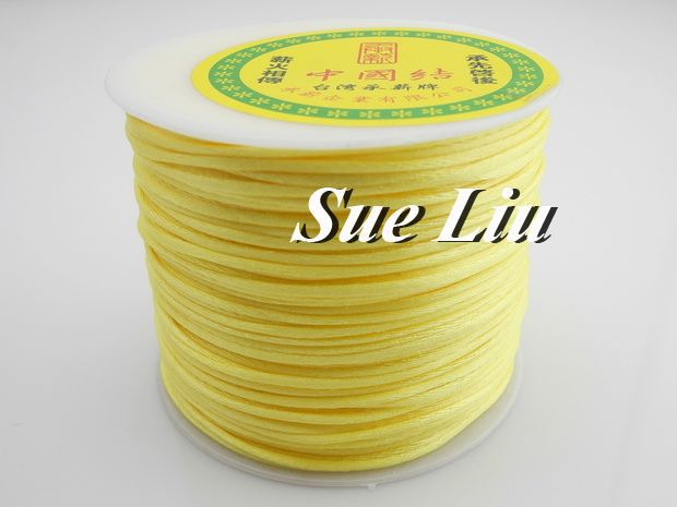 100yds 2mm Lt Yellow Rattail Satin Cord Chinese Knot Beading Cord: Nylon NCN6S(China (Mainland))