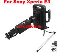 Dual USB Charger Car Lighter Mobile Phone Car Charger Mobile phone Holder +stylus For Sony Xperia E3 Dual D2212 D2203 D2206