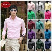 17 colors men long sleeve shirt, casual fashion solid color T-shirt, Ol lapel men long-sleeved shirt