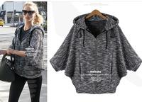 L~5XL Women Plus Size Three Quarter Batwing Sleeve Hooded Cardigan Jacket Coat European Style Street Casual Loose Outerwear Coat