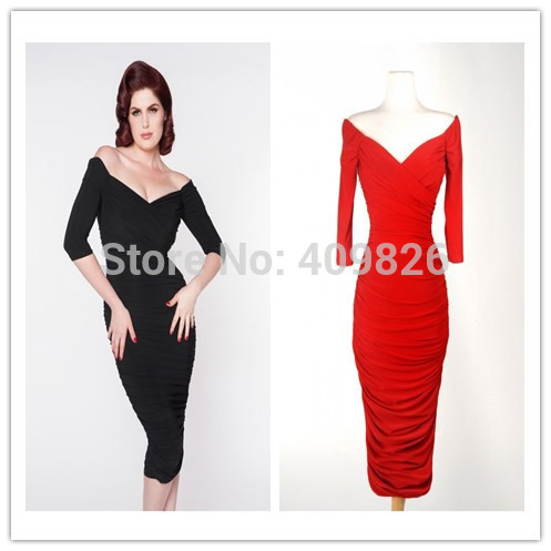 Autumn 50s Vintage Sexy Monroe Style Monica Wiggle Dress Crossover Bustline Off-shoulder Half Sleeve Drape and Stretch Black/Red(China (Mainland))