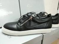 Men women flats giuseppe zanotty sneakers gz designer brand low-cut casual shoes zip lace-up genuine leather black 36-46