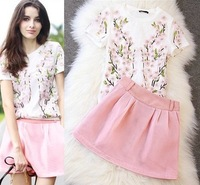 European Grand Prix women's 2014 Summer latest super beautiful Peach blossom embroidery embroidered round neck blouse skirt suit