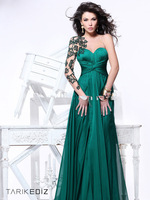 Tarik Ediz 2014 Best Selling Elegant Dark Green Chiffon Long Sleeve one shoulder sweetheart court train RTT-0264 Evening Dresses