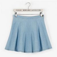 Spring Summer England Style Denim Skirts Brief Pure Color High Waist Pleated Mini Jeans Skirt Blue Saia De Linha 7031