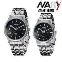 20pcs a lot  Business Women Men Black/White Dial Stainless Band Japan Quartz Movement Wrist Watch Couple Watch Nice Gift 6069