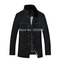 2014 New Men Woolen Trench Coat Men's Winter Warm Fur Collar Coats Man Upscale Wool Outwear Overcoat  Men Casual Jacket Hot Sale