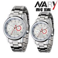 20pcs a lot  Women Men three decoration dial Stainless Band Japan Quartz Movement Wrist Watch Couple Watch Nice Gift 6064