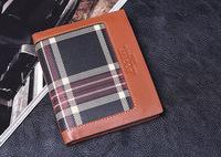 Brand new 2014 Man Wallet classic Scotland fringe lattice Genuine Leather Wallet