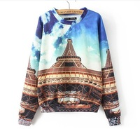 European Style Women Casual Fashion Tower Pattern Print Autumn Winter 2014 New Top Sweatshirt