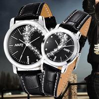 20pcs a lot  Women Men Black White Dial Leather  Band Japan Quartz Movement Wrist Watch Couple Watch Nice Gift 6072pu