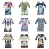 2014 fashion women dress  European and American export stars Harajuku style 3D print dress lady dress two personality