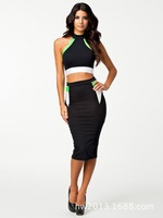 2014 new arrive sexy halter dress Slim hit the color fluorescent green   club wear   sexy  wholesale -038
