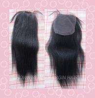 "Free Shipping 14Inch 4""X4"" 100 Peruvian Virgin Hair Italian Yaki Straight Closure Piece Bleach Knot"