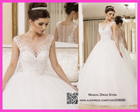 Robe De Mariee 2015 White Scoop Ball Gown Wedding Dress Lace Bridal Dresses Beads Sheer Pearls W3400