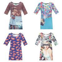 2014 Hot slae European and American export stars Harajuku style 3D perspnality  print dress lady dress