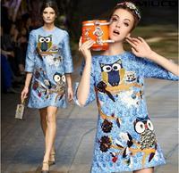 New Winter/ Autumn EU American Retro Owl  Print Dress Women Clothes Free Shipping
