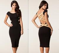 2014 New European Fashion Women knee-length dress Bandage Dress Celebrity backless bodycon dresses pencil Evening Elegant dress