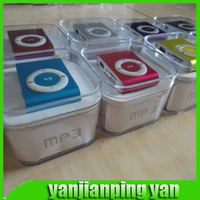 MINI Clip MP3 Player MP3 music Player  with Card slot +Earphone +Mini Usb Cable+Crystal Box Support To 8GB Micro TF Card