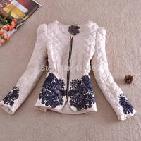Free shipping 2014 Fashion women embroidered slim cotton-padded jacket elegant slim wadded jacket female winter coat women