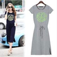 New Promotion Cotton Short Sleeve Casual Vestidos Free Shipping 2014 Autumn O-neck Print Drawstring Women Dresses 3045