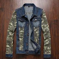 XXXL plus size 2014 New fashion men's clothing Camouflage sleeve men's jeans jacket men denim jackets for men Size M-XXXL N50049
