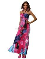 1pcs/lot Sexy Ladies Halterneck Floral Beach Dress Long Gown casual bohemian dress red/green/blue M, XXL