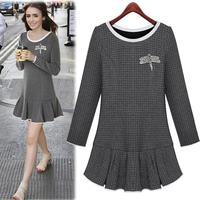 2014 Stylish Plus Size European Long Sleeve Fitness Autumn Dress Vintage Plaid Ruffles Diamonds Vestidos Feminino 3075