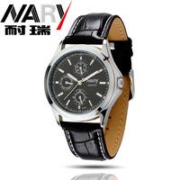 20pcs a lot  Women Men Black White Blue Dial Leather  Band Japan Quartz Movement Wrist Watch Couple Watch Nice Gift 6104pu