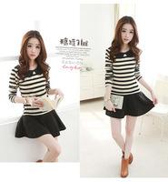 2014 New Autumn Winter Striped Black  & White women Dress casual dress Free Shipping