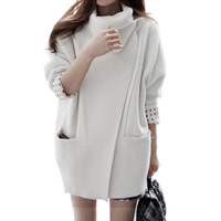 Elegant Appearance Casual Covered Button Woollen Coat Winter 2014 Turn-down Collar Solid Long Sleeve Women's Coats 6041