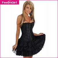 Elegant Women Black Dance Waist Training Corset Lace Dress 2014 New Sexy Cascading Ruffle Dress Women Body Shape Sexy Lingerie