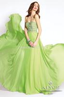 Free Shipping Fashion A-Line Strapless Long Chiffon Beadings Graduation Dress Mint Green/Party Dress