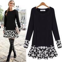 European O-neck Plus Size Ruffles Patchwork Casual Dress 2014 Autumn Long Sleeve Print Mini Women Dresses 9905