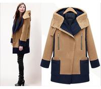 2014 New Women winter coat School Style European Design Zipper Woollen Coat Thick Overcoat,SB240