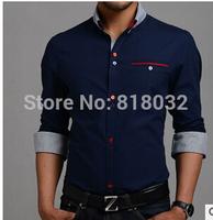Free Shipping New 2014 Italian Mens Dress shirts Men's Blouses Long sleevee Shirt Slim Fit Chemise Homme